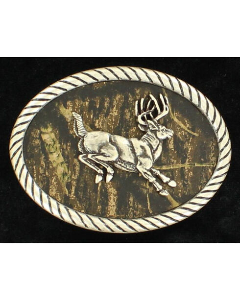 Nocona Men's Oval Jumping Buck Mossy Oak Buckle, Mossy Oak, hi-res
