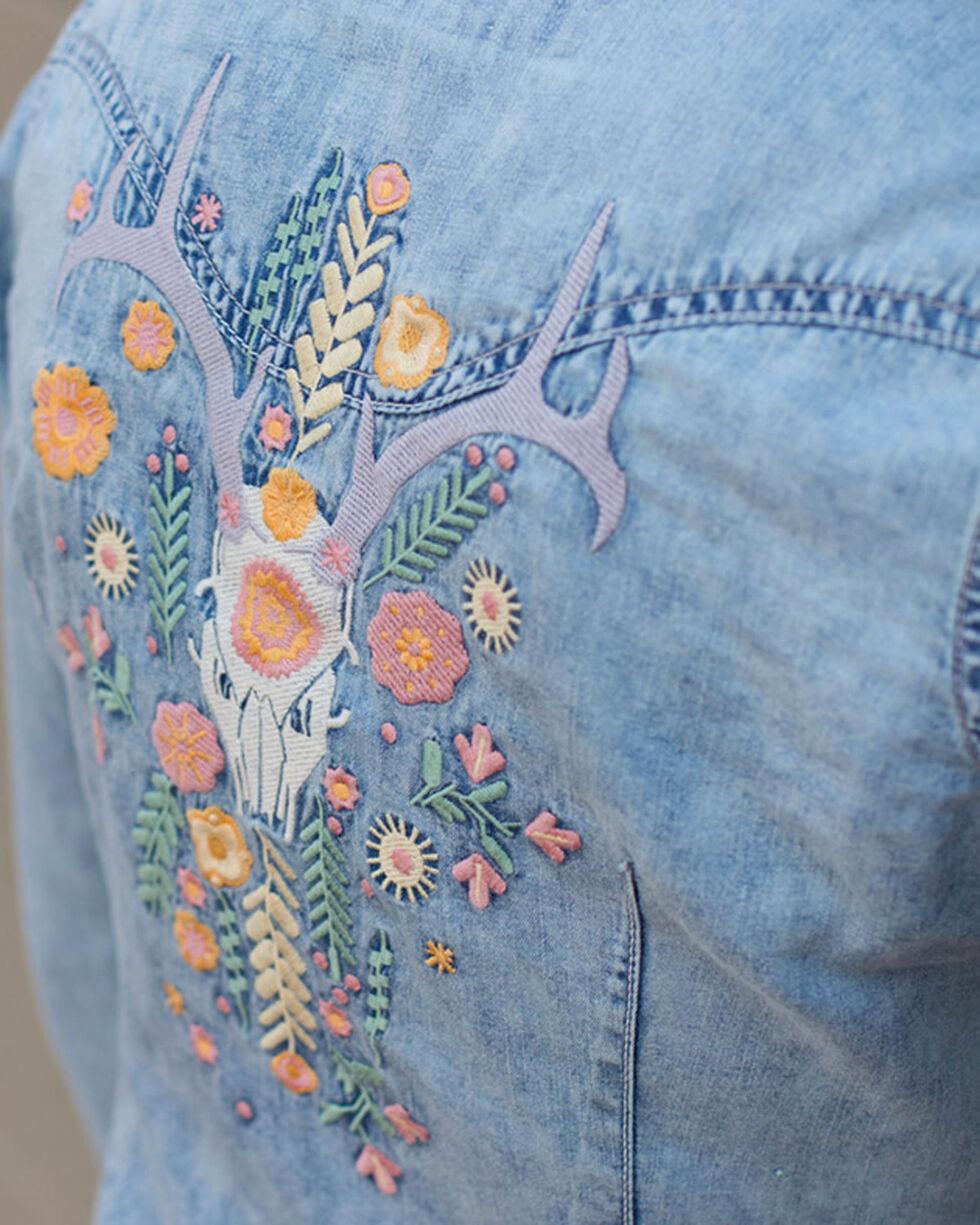 Ryan Michael Women's Indigo Floral Embroidered Shirt, Indigo, hi-res