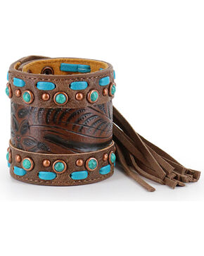 Shyanne® Women's Fringe and Filigree Snap Bracelet , Brown, hi-res