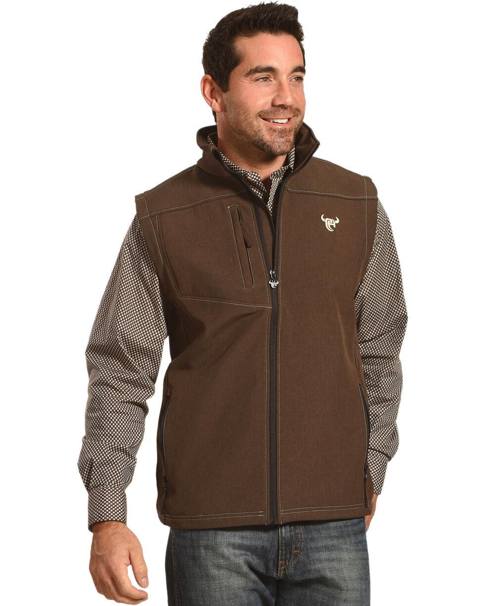 Cowboy Hardware Men's Brown Logo Poly Shell Vest , Brown, hi-res