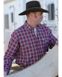 Cinch Men's Red Plaid Weave Western Shirt , Red, hi-res