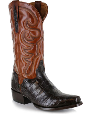 El Dorado Men's Alligator Belly Exotic Boots, Chocolate, hi-res
