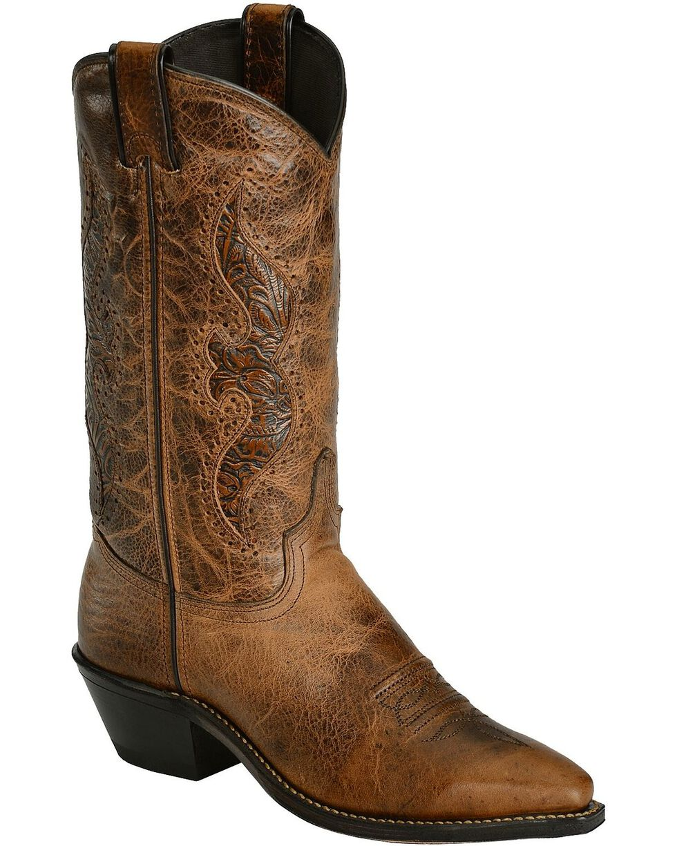 """Abilene Women's 11"""" Tooled Inlay Western Boots, Brown, hi-res"""