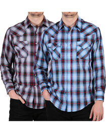Ely Cattleman Men's Assorted Plaid Snap Long Sleeve Western Shirt, , hi-res