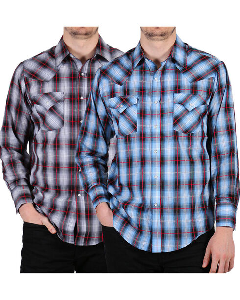 Ely Cattleman Men's Assorted Plaid Snap Long Sleeve Western Shirt, Multi, hi-res