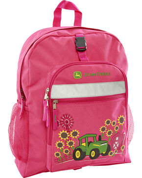 John Deere Girls' Pink Sunflower Trademark Backpack , Magenta, hi-res
