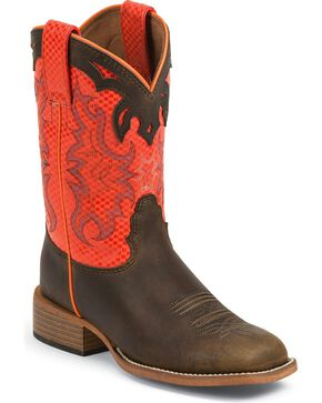 Justin Kid's Bent Rail Diamond Shaft Western Boots, Dark Brown, hi-res