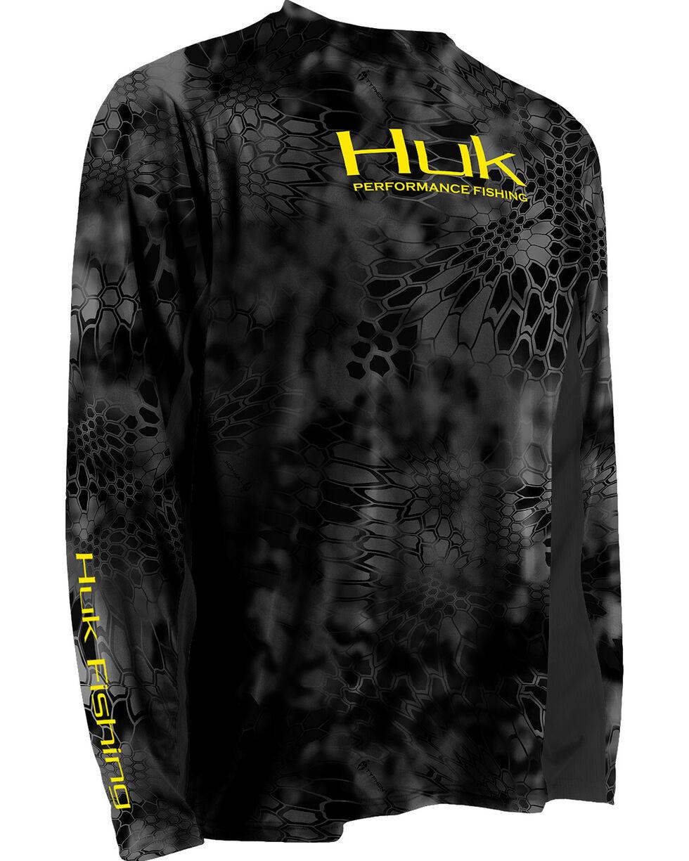 Huk Men's Grey Kryptek ICON Long Sleeve Top , Yellow, hi-res