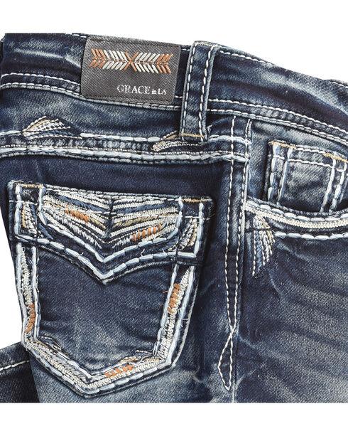 Grace in LA Girls' (4-6X) Indigo Gold Stitched Pocket Jeans - Boot Cut , Indigo, hi-res