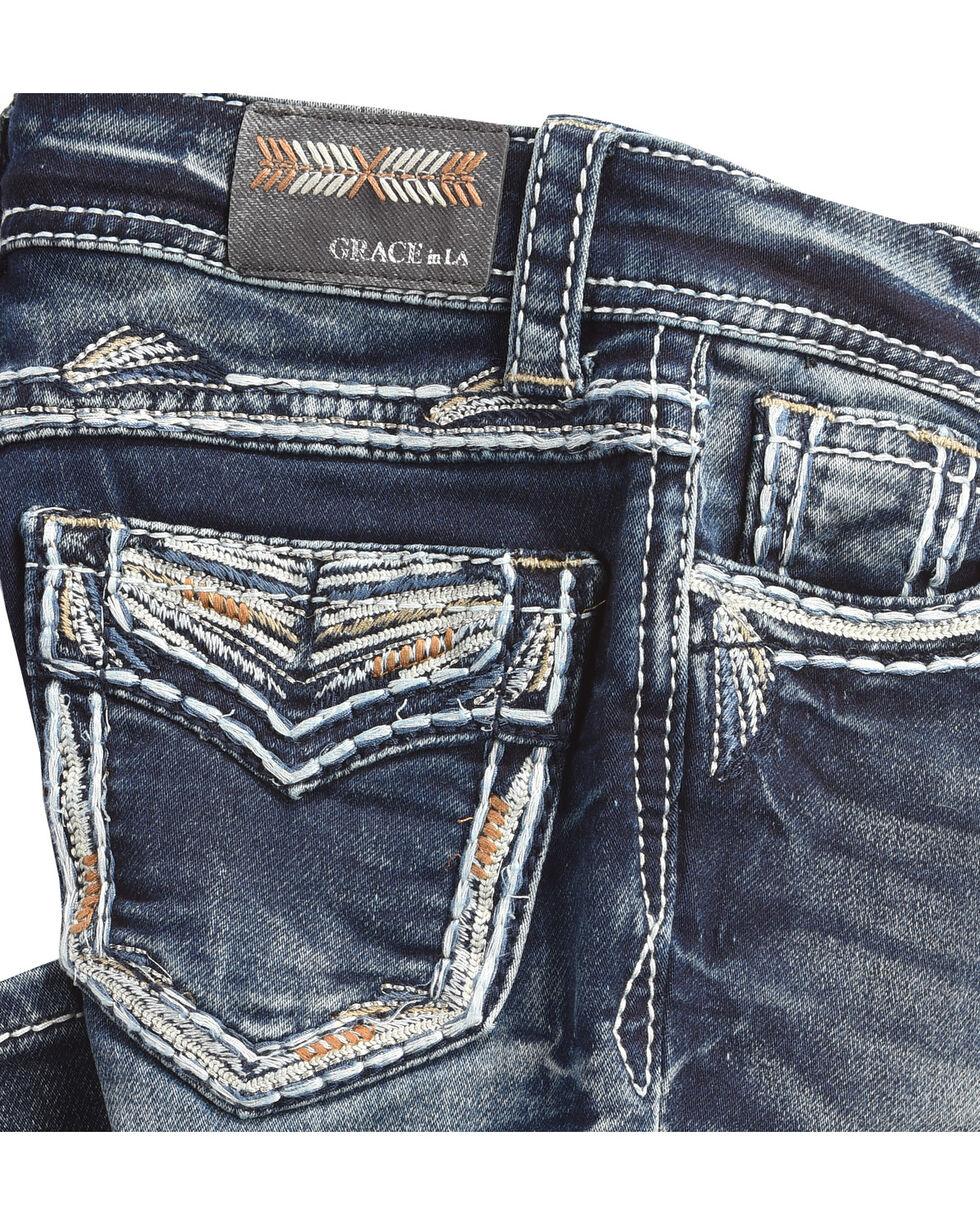 Grace in LA Girls' (4-6X) Gold Stitched Pocket Jeans - Boot Cut , Indigo, hi-res