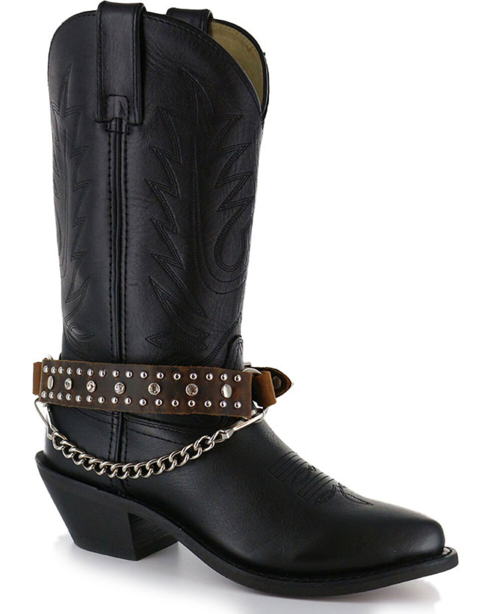 Almax Women's Studded Leather Boot Strap, Black, hi-res
