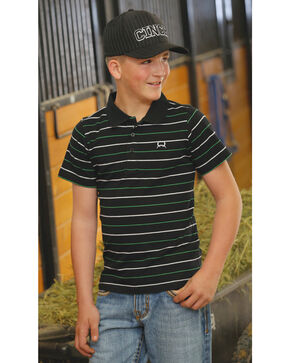 Cinch Boys' Striped Short Sleeve Shirt , Black, hi-res