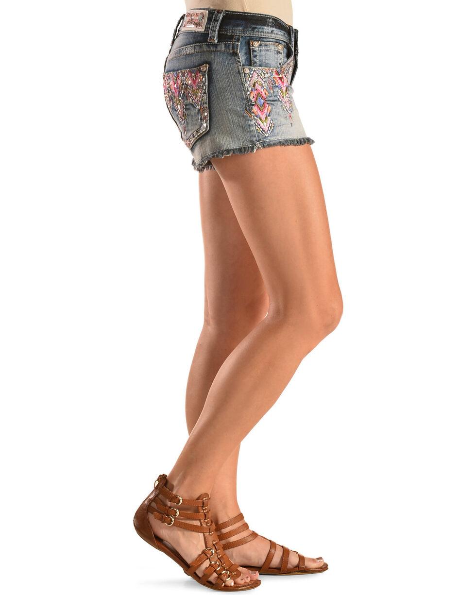 Grace in L.A. Women's Victoria Embroidered Denim Shorts, Blue, hi-res
