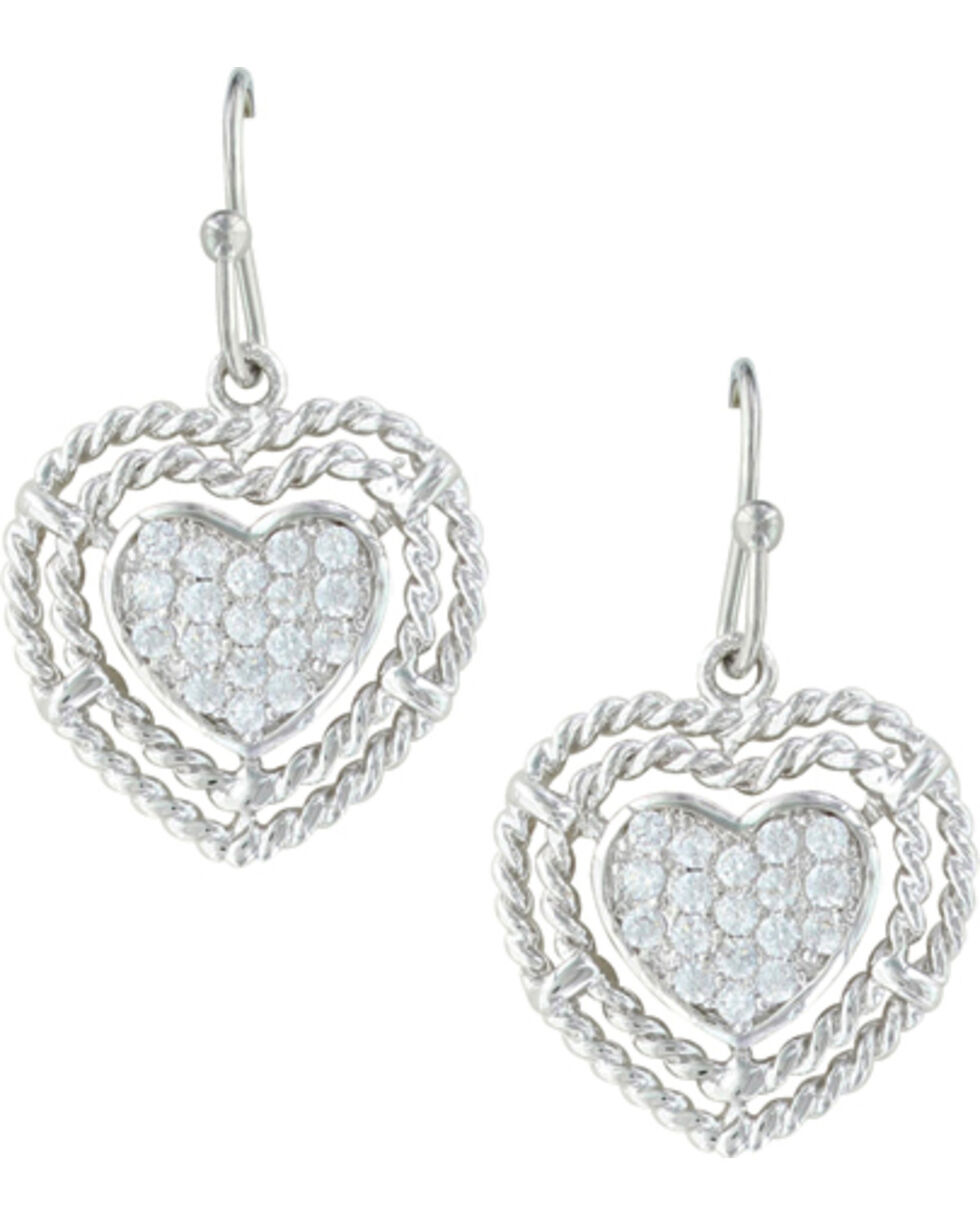 Montana Silversmiths Women's Roped My Heart Earrings , Silver, hi-res