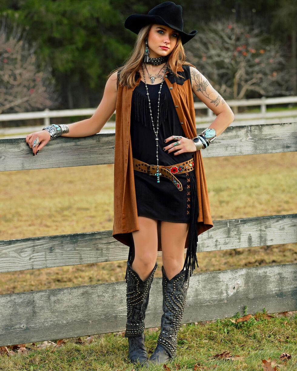 Tasha Polizzi Women's Cowgirl Shirt Dress, Brown, hi-res