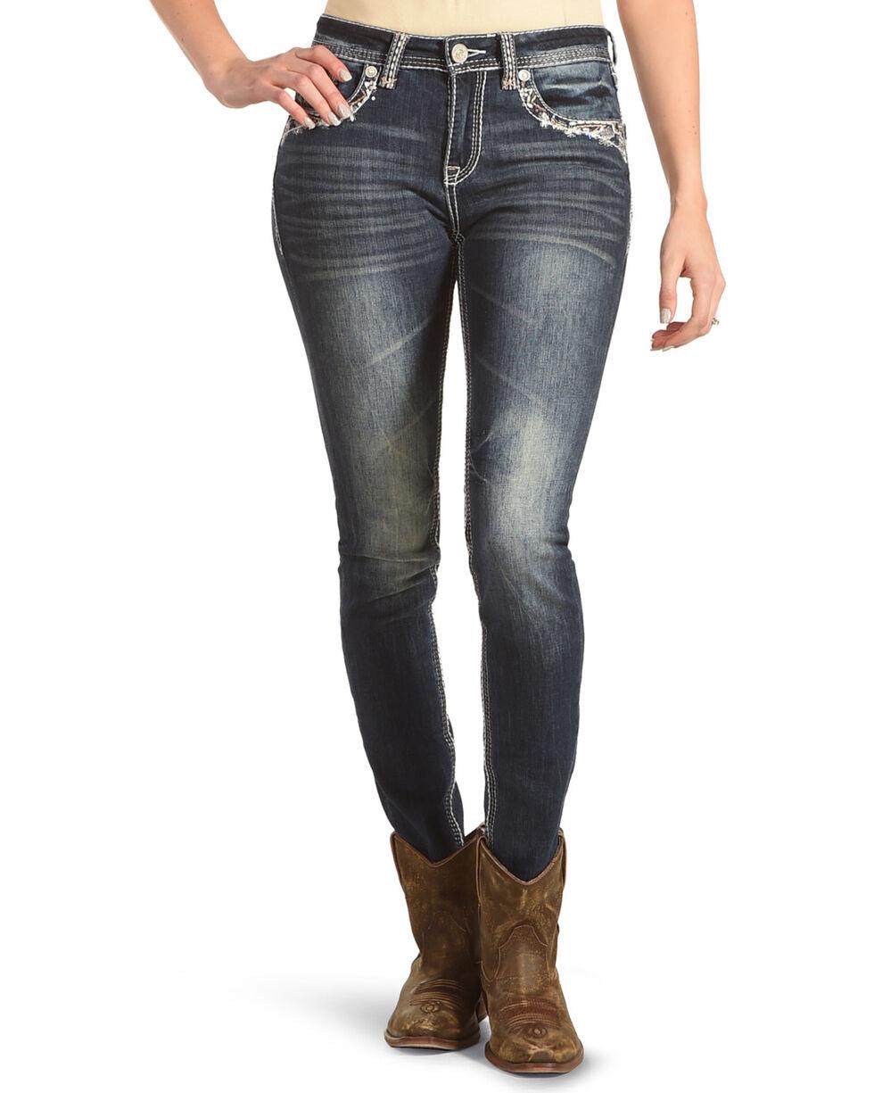 Grace in LA Women's Flora Skinny Jeans , Indigo, hi-res