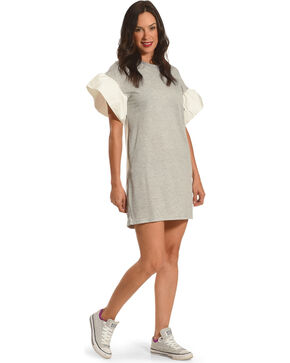 Polagram Women's Grey Sweatshirt Flare Sleeves Dress , Grey, hi-res