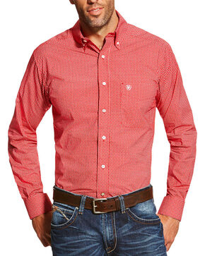 Ariat Men's Stoney Printed Long Sleeve Shirt, Red, hi-res