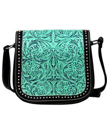 Montana West Trinity Ranch Tooled Design Messenger Bag with Studs, , hi-res