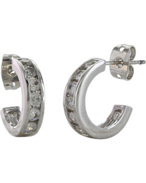 Montana Silversmiths Women's Path of Star Lights Hoop Earrings , Silver, hi-res