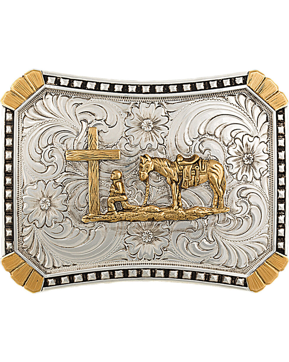 Montana Silversmiths Christian Cowboy Buckle Belt Buckle, Multi, hi-res