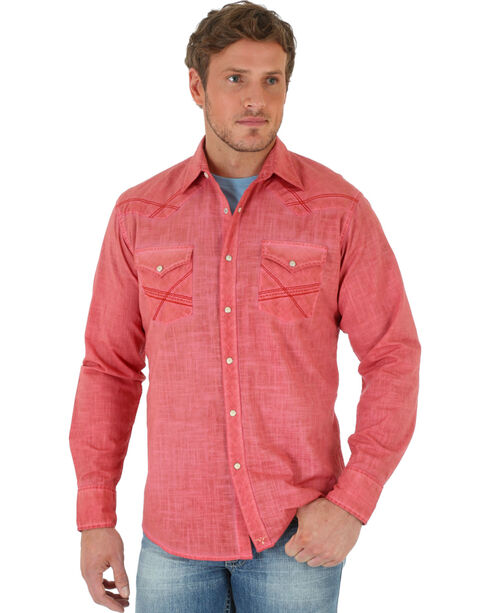 Wrangler 20X Men's Long Sleeve Solid Slub Shirt, Coral, hi-res