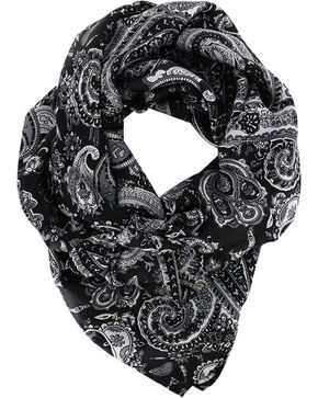 M&F Women's Silk Paisley Wild Rag, Black, hi-res