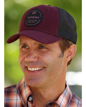 Cinch Men's Burgundy Trucker Cap , Burgundy, hi-res