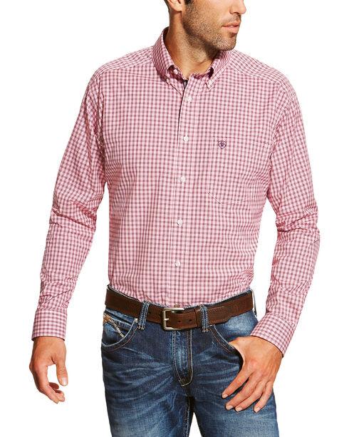 Ariat Men's Checkered Long Sleeve Shirt, Dark Pink, hi-res