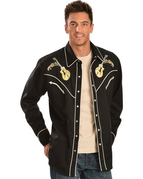 Scully Men's Rock N' Roll Western Shirt, Black, hi-res