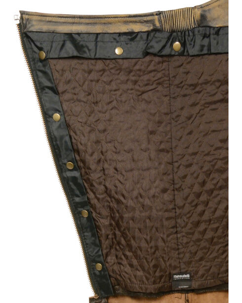 Milwaukee Leather Men's Tan Distressed Thermal Lined Chaps - Big 4X , Black/tan, hi-res