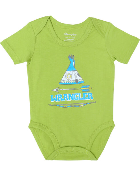 Wrangler Infant Boys' Teepee Bodysuit, Lime, hi-res