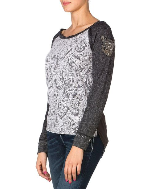 Miss Me Jacquard Top, Charcoal Grey, hi-res
