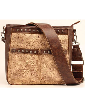 Blazin Roxx Women's Embossed Studded Concealed Carry Crossbody Bag, Brown, hi-res