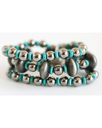 West & Co. Women's Silver Turquoise Beaded Stretch Bracelet, , hi-res