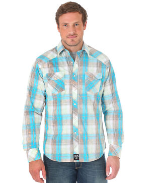 Wrangler Rock 47 Blue Plaid Long Sleeve Shirt , Grey, hi-res