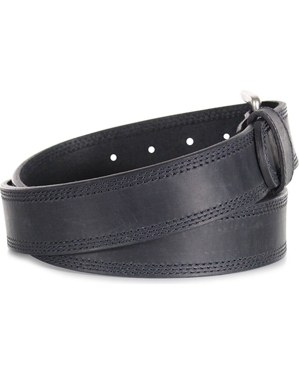 American Worker® Men's Triple Stitch Leather Western Belt, Black, hi-res