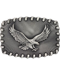 Montana Silversmiths Stitched Edge Radiating Golden Eagle Buckle, , hi-res