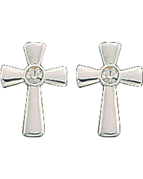 Montana Silversmiths Rhinestone Cross Earrings, Silver, hi-res