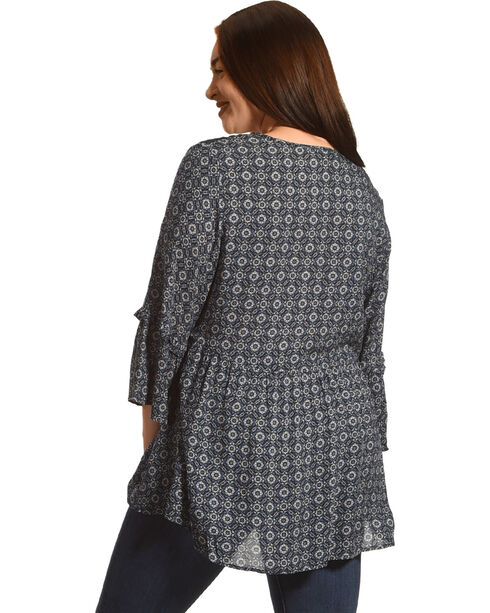 Eyeshadow Women's Navy Print Crochet Shoulder Peasant Top - Plus, Navy, hi-res