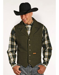 Powder River Outfitters by Panhandle Men's Wool Vest, Loden, hi-res