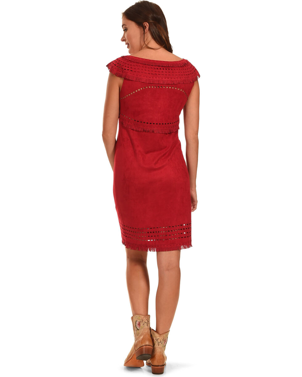 Cowgirl Justice Women's Merida Red Faux Suede Dress, , hi-res