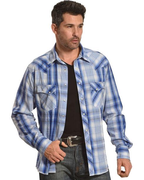 Wrangler Men's Light Blue Plaid Fashion Snap Shirt , Light Blue, hi-res