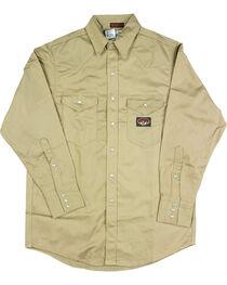 Rasco Men's Flame Resistant Long Sleeve Work Shirt, Beige/khaki, hi-res