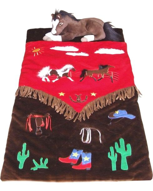 Kids' Cowboy Sleeping Bag, Brown, hi-res