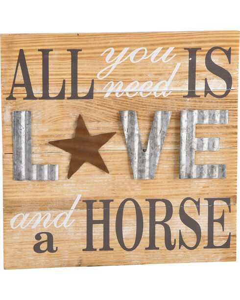 BB Ranch All You Need Is Love And A Horse Wall Art, White, hi-res