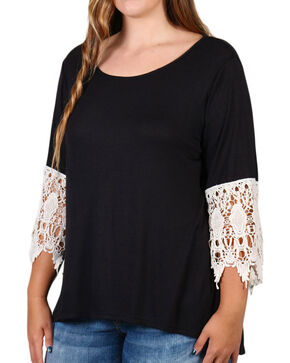 Forgotten Grace Women's Lace Trim Bell Sleeve Top, Black, hi-res