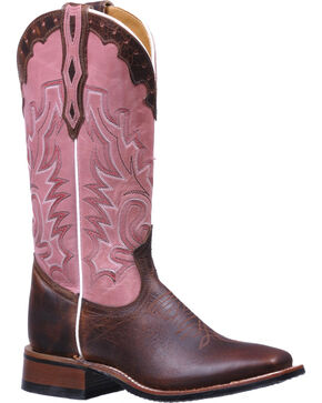 Boulet Brown and Pink Stockman Rider Cowgirl Boots - Square Toe , Dark Brown, hi-res