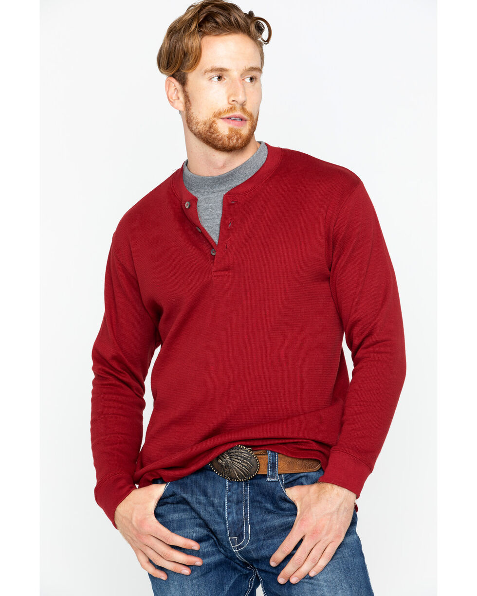 Cody James Men's Long Sleeve Maroon Henley, Maroon, hi-res