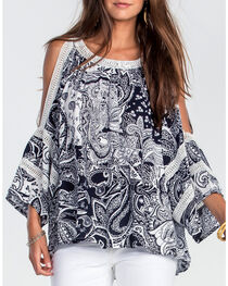 Miss Me Women's Navy Paisley Print Open Shoulder Shirt, , hi-res